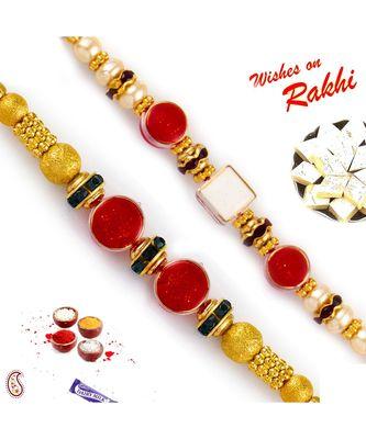 Set Of 2 Dual Round Red Beads Rakhi