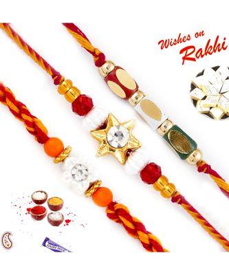 Set Of 3 Multicolor Motifs And Beads Mauli Thread Rakhi