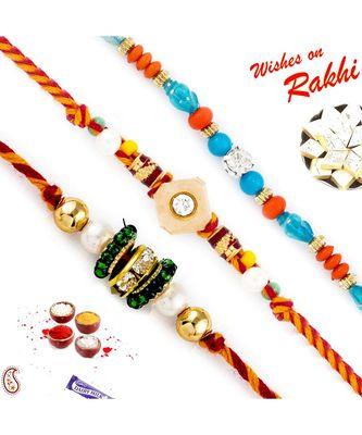 Set Of 3 Multicolour Shade Pretty Beads Rakhi