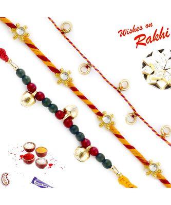 Set Of 3 Red & Green Beads And Kundan Work Mauli Thread Rakhi