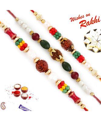 Set Of 3 Multicolor Beads With Rudraksh Rakhi