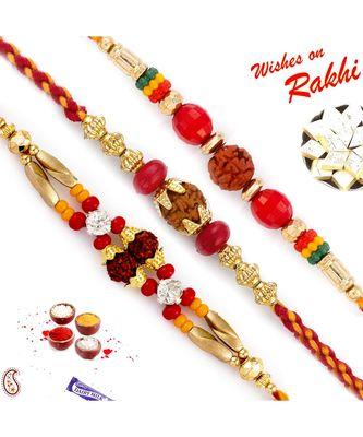 Set Of 3 Red & Golden Beads Rudraksh Rakhi