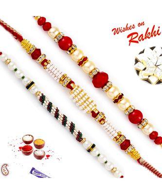 Set Of 3 Red Circular Beads Studded Pearl Rakhi