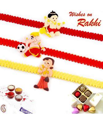 Set Of 3 Colourful Band Kids Motif Rakhi