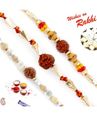 Set of 3 Golden Twisted Beads Rudraksh Rakhi