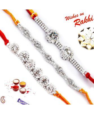 Set of 3 White stones and Silver Chain Rakhi
