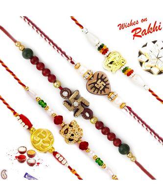 Set of 5 Divine Motif Mauli Rakhi