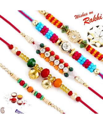 Set Of 5 Colorful Joint Beads Mauli Rakhi
