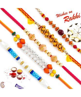 Set Of 5 Multicolour Round Beads Thread Rakhi