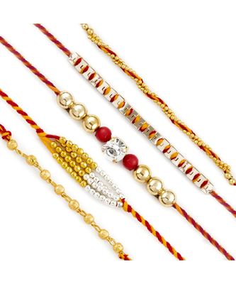 Set Of 5 Small Golden Beads Twisted Mauli Thread Rakhi