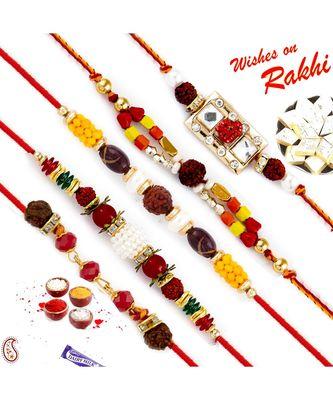 Set Of 5 Lovely Multicolour Beads Studded Rudraksh Rakhi