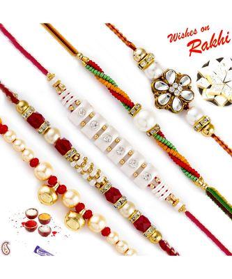 Set Of 5 Ad & Kundan Studded Pearl Rakhi