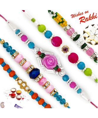 Set Of 5 Multicolour Beads Ad Studded Rakhi