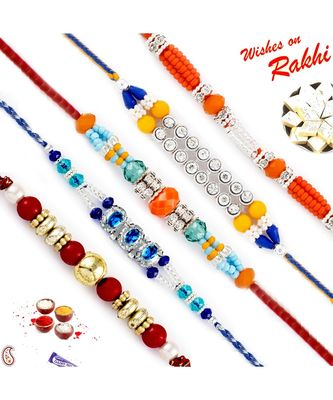 Set Of 5 Multicolour Solid Beads Ad Studded Rakhi