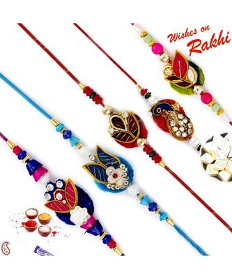 Set Of 5 Traditional Design Ad Studded Zardosi Rakhi