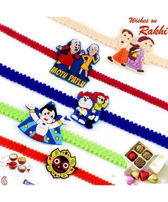 Set Of 5 Wrist Band Cartoon Motif Kids Rakhi