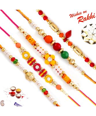 Set Of 5 Traditional Beads Floral Motif Thread Rakhi