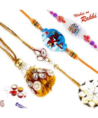 Kundan Work Family Rakhi Set With 2 Kids Rakhis