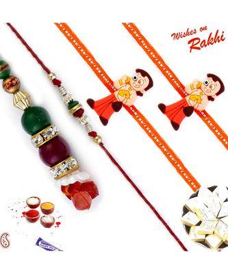 Red And Green Beads Ad Stud Family Rakhi Set With 2 Kids Rakhis