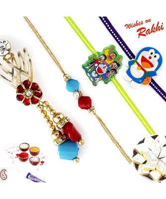 Red And Turquoise Faceted Bead Family Rakhi Set With 2 Kids Rakhis