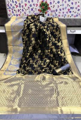Black and sky Blue Banarasi silk saree