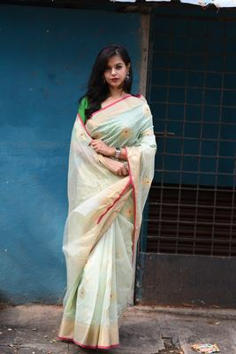 pastel green chanderi with Meena buttis