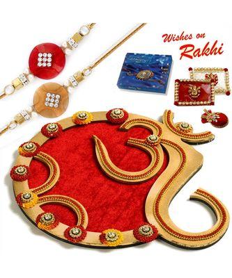 Classy Handcrafted Floral Work Golden Rakhi Pooja Thali With Set Of 2 Rakhis