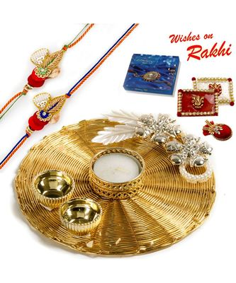 Handcrafted Mesh Work Golden Rakhi Pooja Thali With Set Of 2 Rakhis