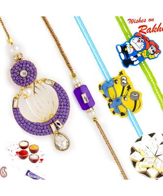 Cut And Polished Purple Beads Family Rakhi Set With 2 Kids Rakhis