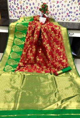 Red and Green color Banarasi silk saree