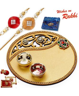 Golden Cut Work Rakhi Pooja Thali With Set Of 2 Rakhis
