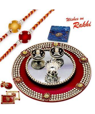 Crystal Studded Rakhi Pooja Thali With Set Of 2 Rakhis