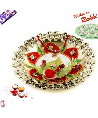 Golden Polish Cutwork Design Rakhi Thali with Rakhis