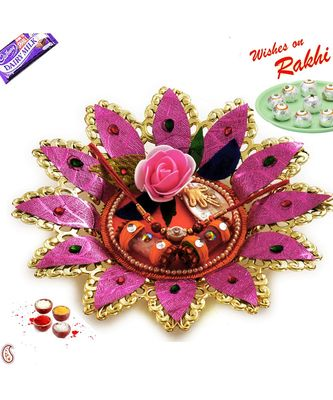 Golden Polish Pink Floral Rakhi Thali with Rakhis