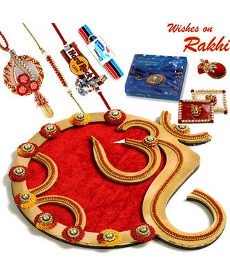 Classy Handcrafted Floral work Golden Rakhi Pooja Thali with Family Rakhi Set
