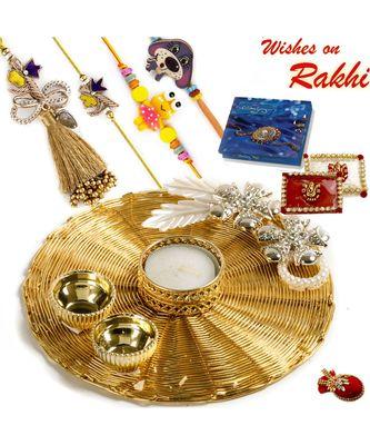 Handcrafted Mesh Work Golden Rakhi Pooja Thali With Family Rakhi Set