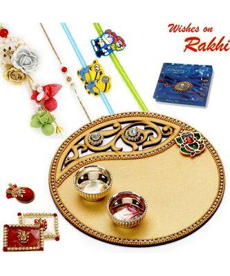 Golden Cut Work Rakhi Pooja Thali With Family Rakhi Set