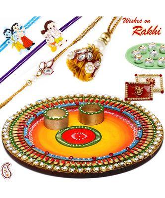 Colorful Crystal Stone Studded Round Rakhi Pooja Thali With Family Rakhi Set