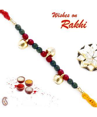 Red & Green Beads Mauli Thread Rakhi