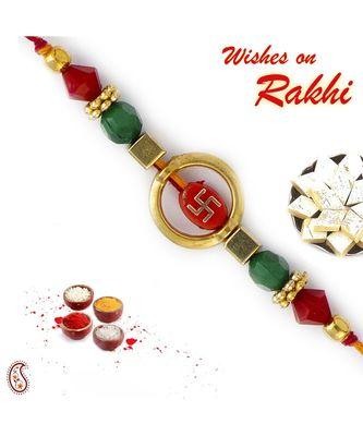 Swastik Design Red & Green Beads Mauli Thread Rakhi