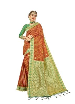 Rust woven faux banarasi silk saree with blouse