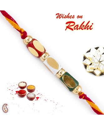 Multicolor Rectangular Motifs Mauli Thread Rakhi