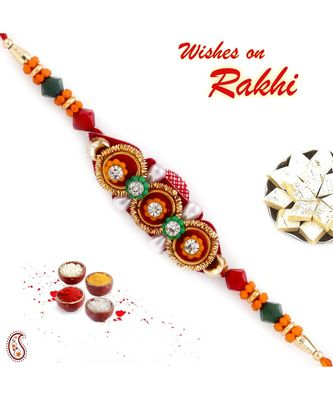 Yellow , White & Golden Beads Mauli Thread Rakhi