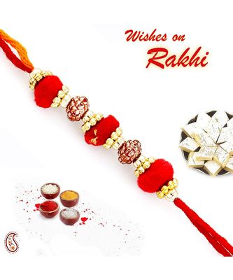 Red Cotton Balls And Golden Rings Mauli Rakhi