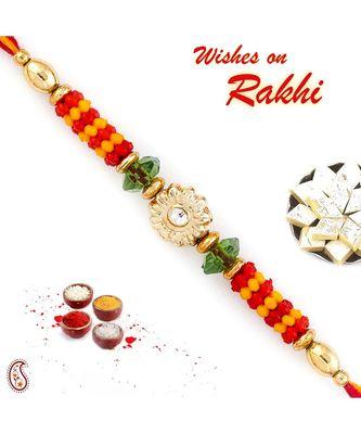 Floral Motif & Beads Studded Mauli Thread Rakhi