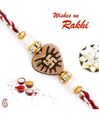 Brown Heart Shape Mauli Rakhi with Swastik Motif