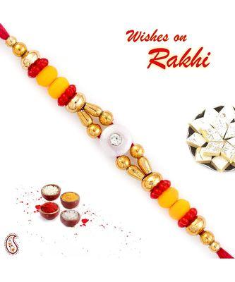 Red & Yellow Beads Lovely Mauli Thread Rakhi