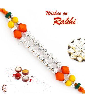 Wonderful Multicolor Beads & Ad Studded Mauli Thread Rakhi