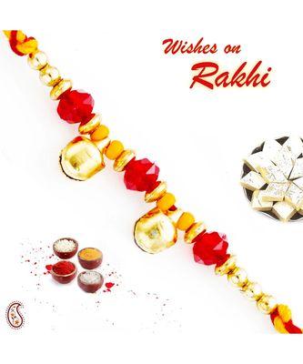 Twin Golden Bell Beads Mauli Thread Rakhi