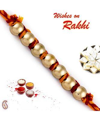 Golden Circular Beads Mauli Thread Rakhi